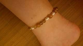 金髮晶(金鈦晶)配珍珠 腳串