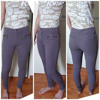 Khaki Grey Stretchable Skinny Denim Jeans Jeggings High Waist Mid Waist ✔
