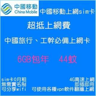 中國大陸上網卡, 內地旅行專用,中國移動網絡數據卡, 6GB包一年有效期上網