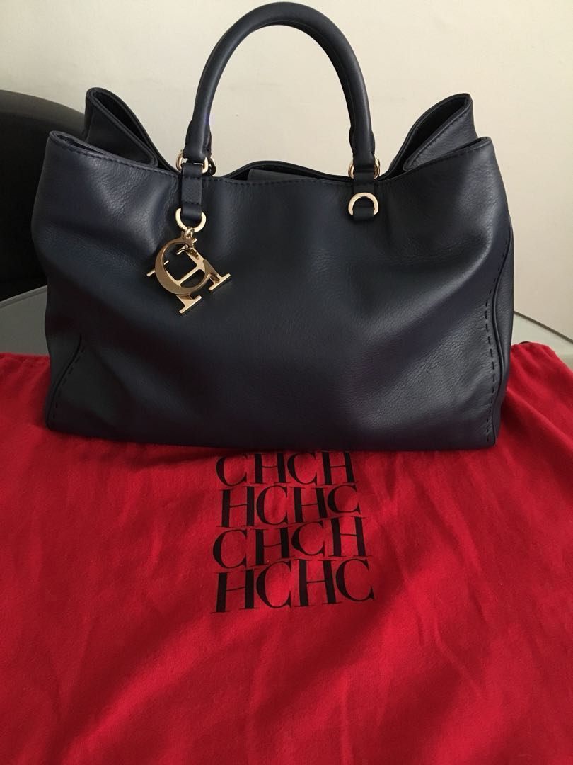 f14a1a2f2 Pre-loved Authentic Carolina Herrera Handbag (Navy Blue) with ...