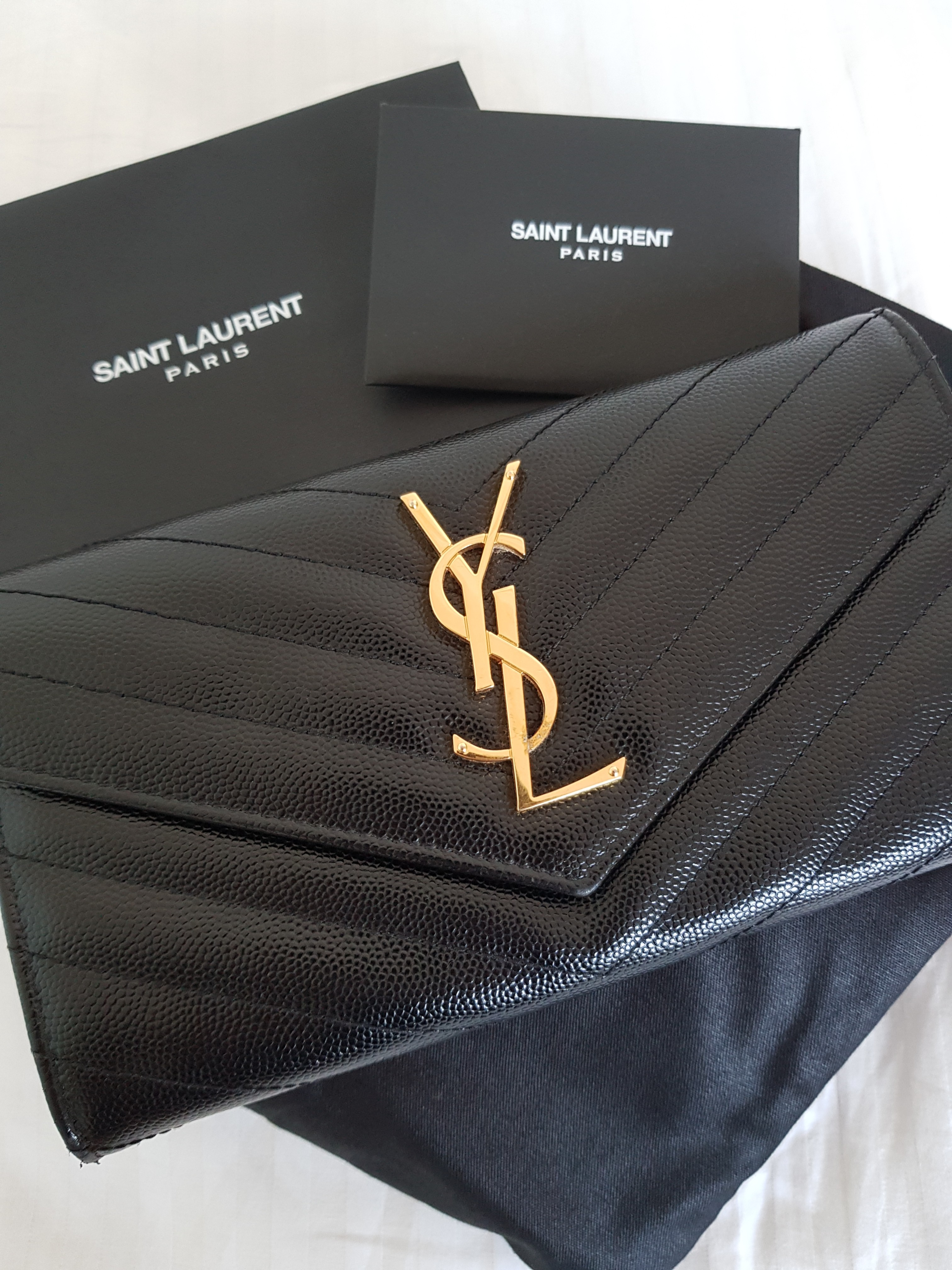 aa9d31960e971 Authentic YSL Large Flap Wallet in Black