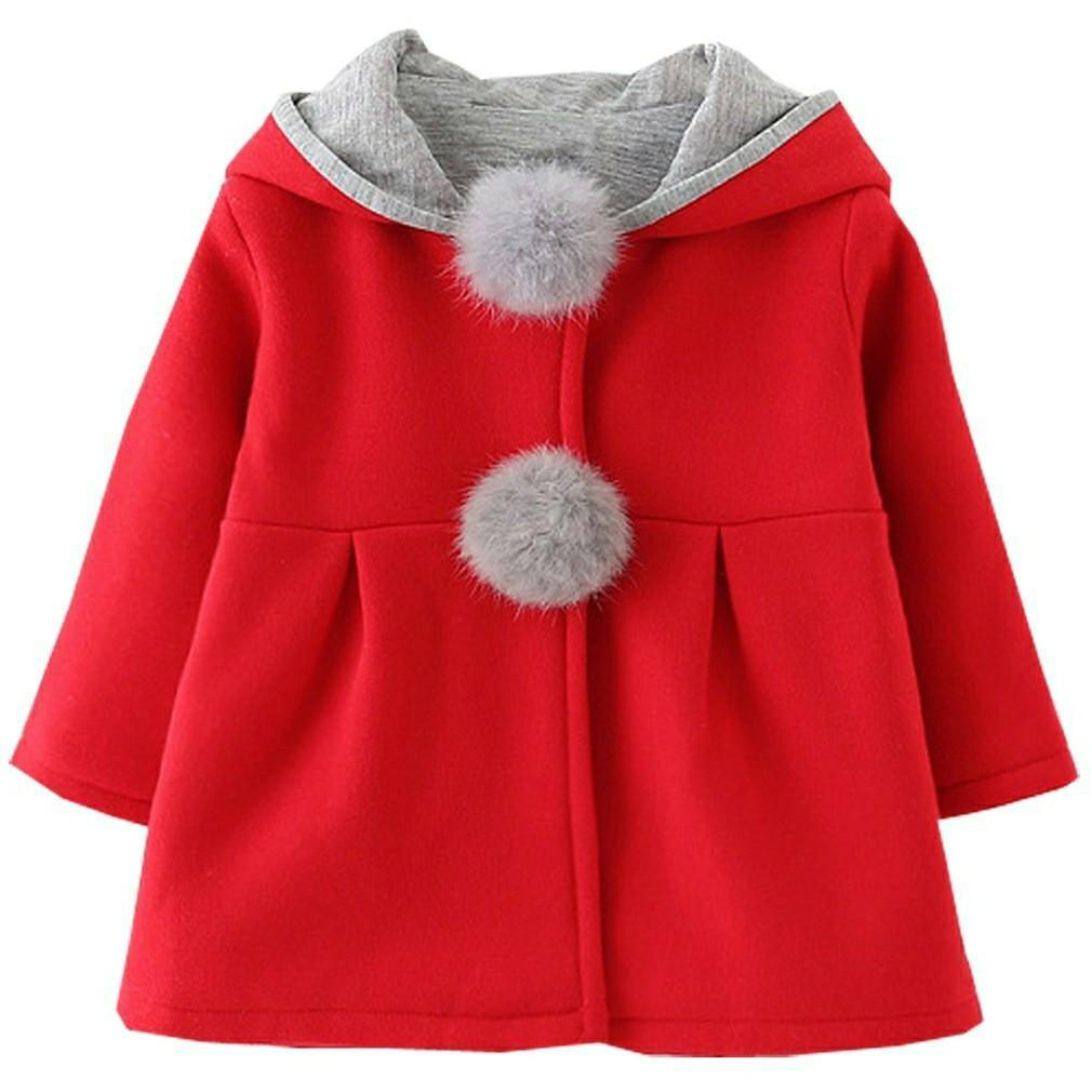 Baby Girl Coat Jaket Dingin Model Kelinci Bahan Halus untuk Anak Usia 2-3 Tahun