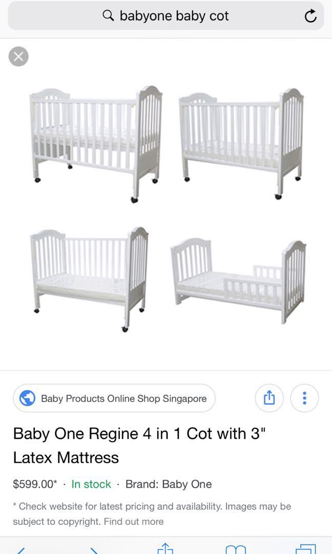 007e9af009038 BabyOne Regine 4-in-1 convertible Cot (up to 4yrs)
