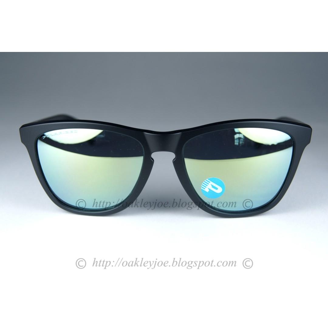 5fb6c6d915 BNIB Oakley Frogskins Asian Fit matte black + emerald iridium polarized  oo9245-43 sunglass shades