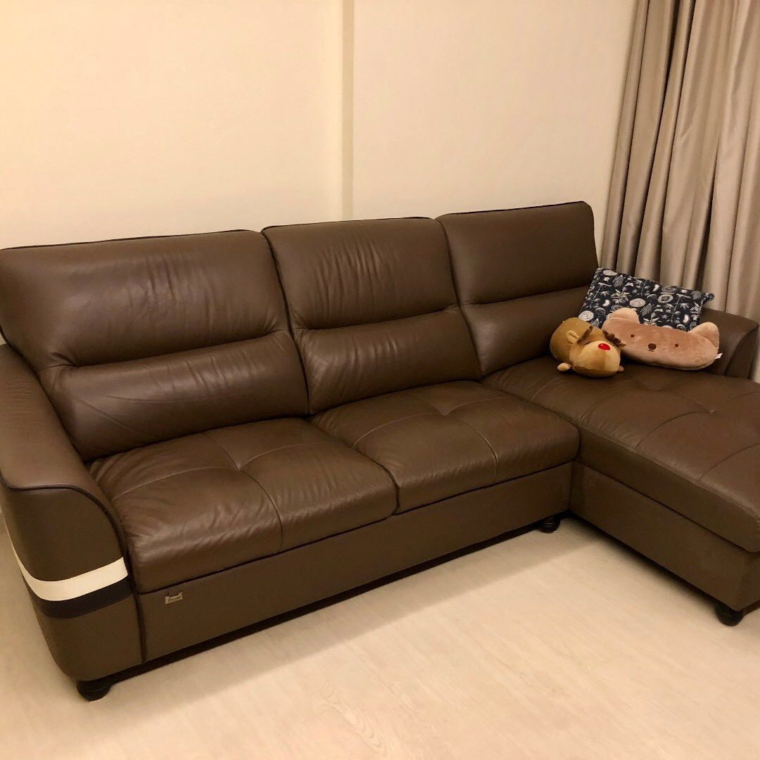 Picture of: Brown Leather Sofa L Shape Furniture Sofas On Carousell