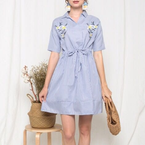4d044d755c Embroidered Floral Flower Daffodils tshirt Collar Shirt Dress ...