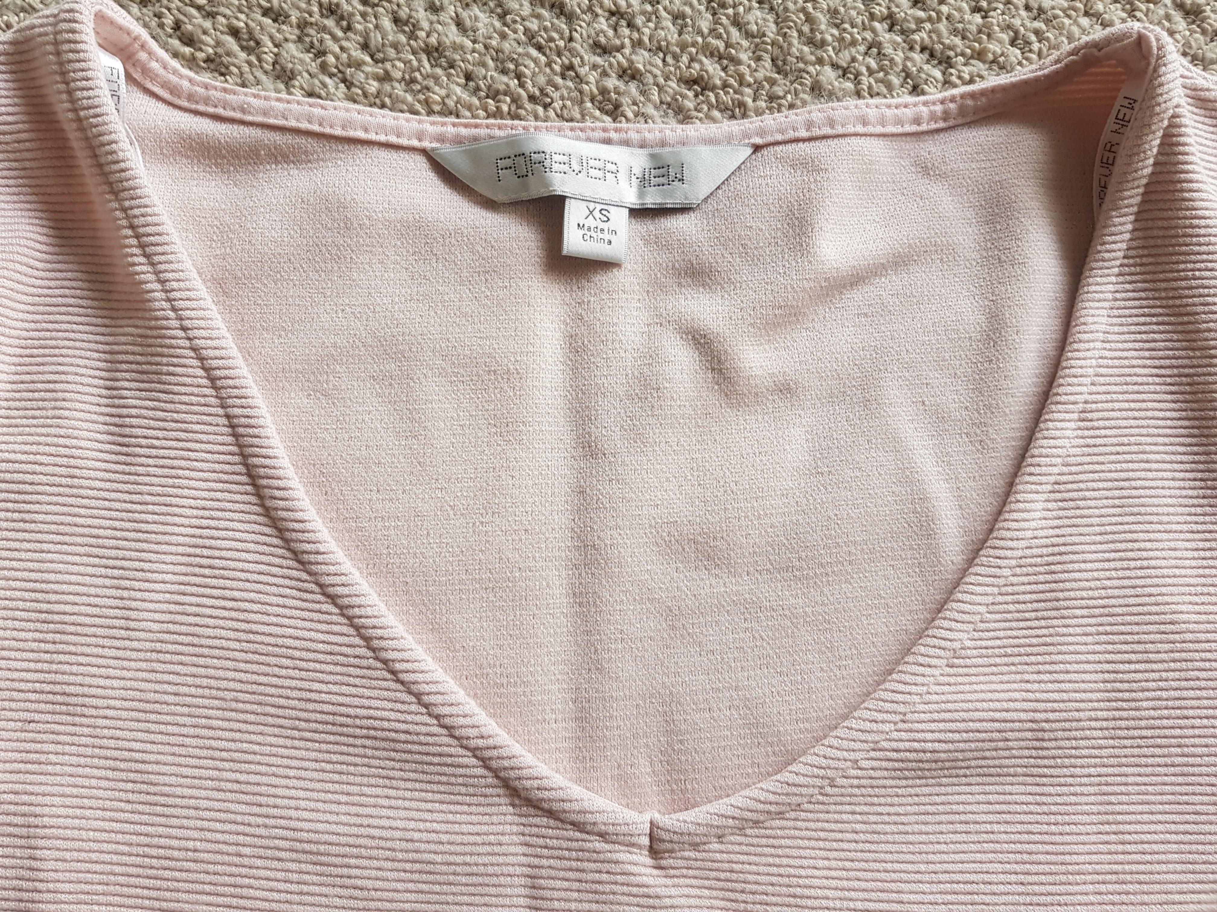 Forever New Pale Pink Flare Sleeve Top Size Xs/8