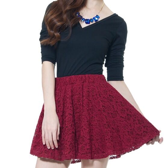 eb7ce25057ae Instock! - Maroon Lace Skater Skirt