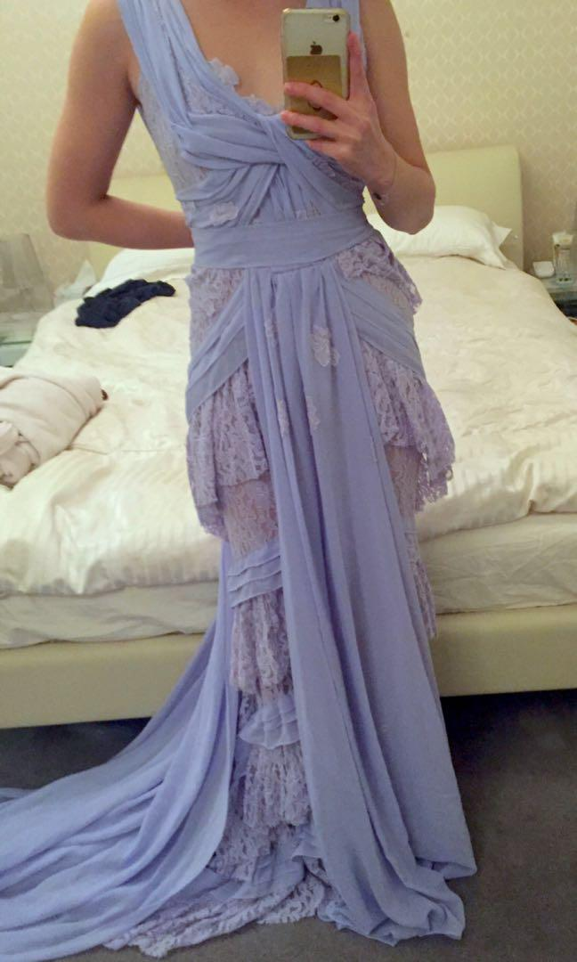 NEW Elie Saab inspired Lilac Lace Formal Gown