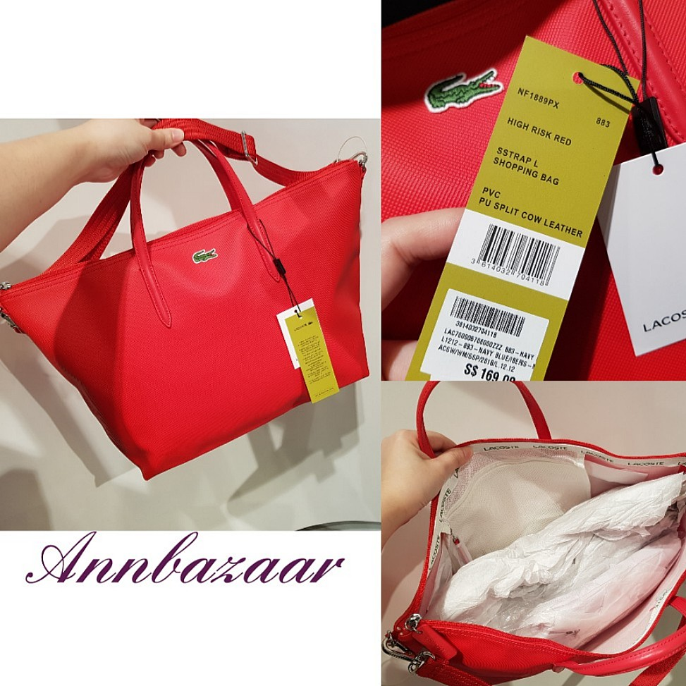 080944a1e94 SPECIAL OFFER! Lacoste Shopping Bag Large PVC Tote- High Risk Red ...
