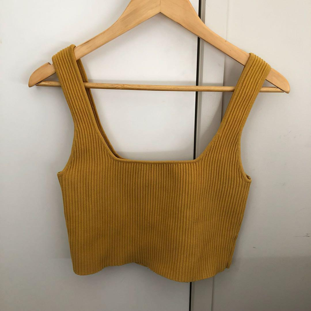Square mustard crop top