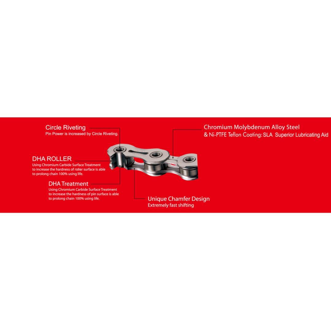 YBN SLA110 TIB TI 11 Speed Chain 116 Link SLA-11 for Campagnolo Shimano BLACK