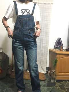 全新牛仔吊帶褲