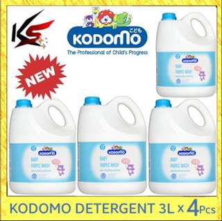 PROMOTION ONLY FOR SELF COLLECTION [Carton Sale] Kodomo Baby Fabric Wash Laundry Detergent 3000ml x  4pcs $50 ONLY