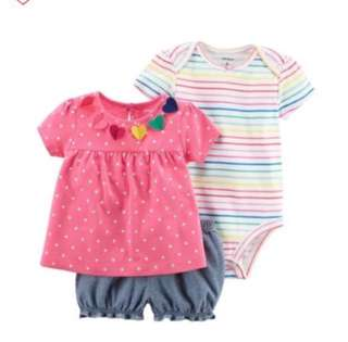 🚚 *6M* BN Carter's 3-Piece Bodysuit & Diaper Cover Set For Baby Girl
