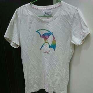 雨傘牌正版女生版型白色T恤上衣