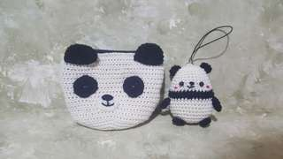 Crocheted Panda keychain and wallet