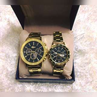 COUPLE UNiSEX LACOSTE WATCH W/BOX STAiNLESS STEAL