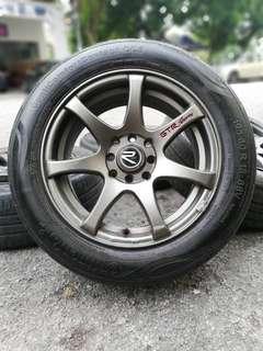 Gtr sport 15 inch sports rim proton iriz tyre 70%. *morah morah je*