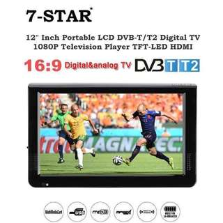 """12""""inch Digital Portable LED LCD 1080P Television TV Player with Build in DVB-T/T2 (2018 Latest Version/Rechargeable Battery/Portable/SD-MMC Card-USB Slot/HDMI-VGA-AV Input) 7-STAR* Multimedia Player"""
