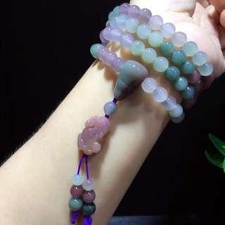 Natural purple green agate 108 buddhist beads pipipixiu