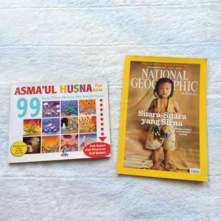 Majalah National Geographic dan Buku Anak 99 Asmaul Husna For Kids Preloved