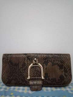 Gucci brown python and leather greenwich clutch