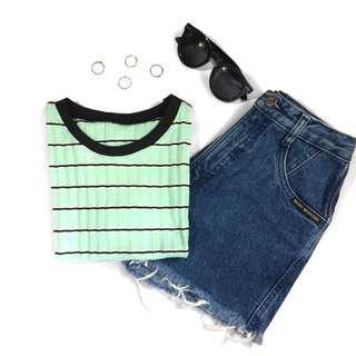 Mint ribbed ringer tee