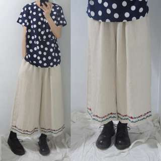 。error dot。日本刺繡小花素色/格紋寬褲