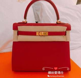 Hermes Kelly 25cm 53 Rouge Vif Togo Leather with Gold Buckle 超美😍Full set with original receipt. Please pm if interested. Thanks😊