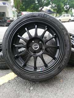 Original ssr type f 17 inch sports rim civic fd tyre 70%. *betul ke orang cakap pakai rim made in japan tak segan parking dataran??*