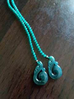 細長玉耳環/綠水晶+藍水料A貨耳環/僅示範配戴長度/純銀耳勾/喜歡請私~