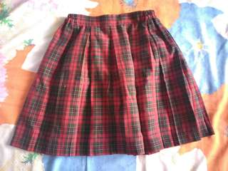 Red checkerd skirt
