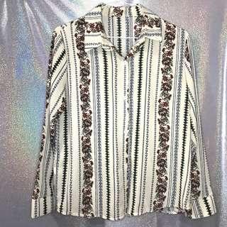 🚚 (二手)極新復古花紋古著襯衫