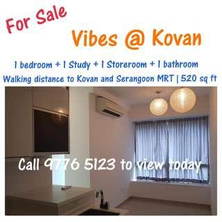 Below Value! $6xxK Only! 1+ Study Vibes @ Kovan For Sale (Freehold) Mins To Kovan & Serangoon MRT