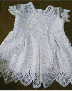Dress brokat prada putih