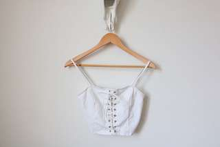 Brand New Crop Lace Up Top