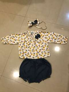 MOSFIT Baby Doll Set (Bandana + Blouse + Pants)