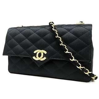 Vintage Chanel黑色綢緞菱格閃石金扣 chain bag 21.5x12x4.5cm