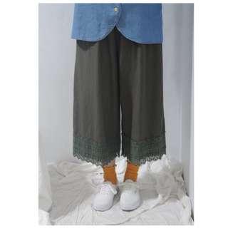。error dot。日本森林系布蕾絲寬褲