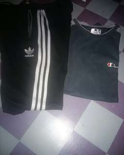 Adidas Trackpants Tshirt Champion