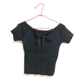 黑色針織超辣性感交叉綁帶短板上衣