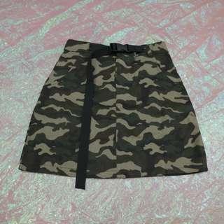 安全釦帶腰帶造型迷彩短裙