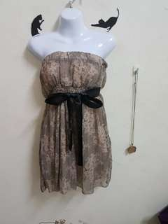 🚚 全新平口雪紡綁帶洋裝