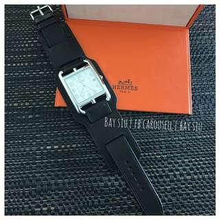 黑牛/黑鱷魚皮 Brand new Hermes Cape Cod TGM watch