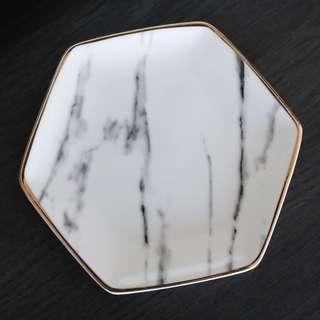 Pier 1 Imports white marble ceramic ring dish soap dish