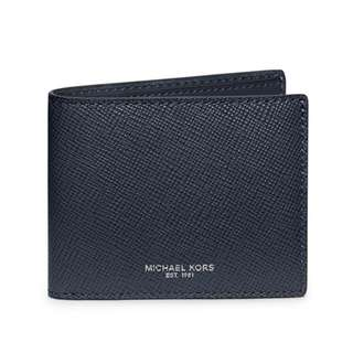 NEW Michael Kors Men's Harrison Slim Leather Billfold Wallet (Navy Blue/Grey)