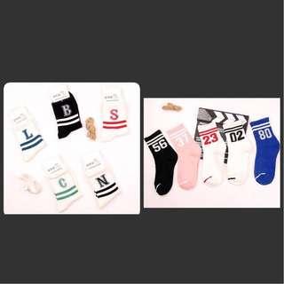 letters & numbers socks