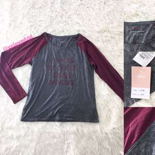 VL5990 esprit maroon grey sleeve top