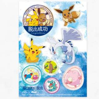 Real Escape Game x Pokemon the Movie 2018 Minna no Monogatari Event Limited Goods Lugia Pikachu Eevee Sticker Set (Pre-Order)
